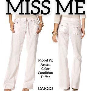 Miss Me Cargo Wide Leg Linen Pants (M)